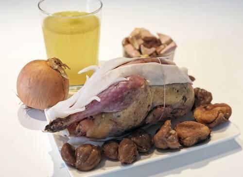 Faisan farci aux cèpes, foie gras et figues