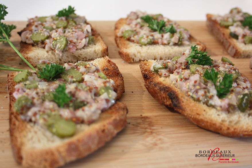 Pig trotter tartines with cornichons