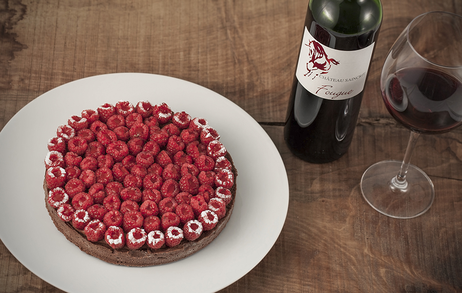 Aquitaine tarte (dark chocolate, raspberries and red pepper)