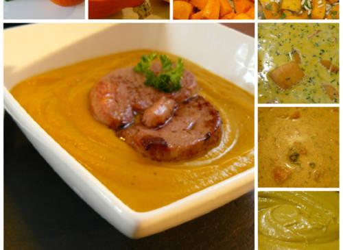 Le velouté de potimarron au foie gras poêlé